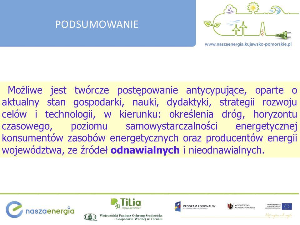 Możliwe jest twórcze postępowanie antycypujące, oparte o aktualny stan gospodarki, nauki, dydaktyki, strategii rozwoju celów i technologii, w kierunku: określenia dróg, horyzontu czasowego, poziomu samowystarczalności energetycznej konsumentów zasobów energetycznych oraz producentów energii województwa, ze źródeł odnawialnych i nieodnawialnych.