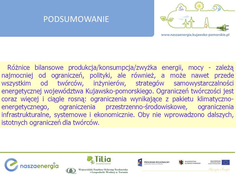 Różnice bilansowe produkcja/konsumpcja/zwyżka energii, mocy - zależą najmocniej od ograniczeń, polityki, ale również, a może nawet przede wszystkim od twórców, inżynierów, strategów samowystarczalności energetycznej województwa Kujawsko-pomorskiego.
