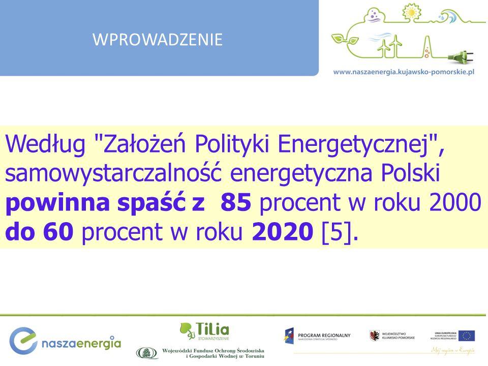 Według Założeń Polityki Energetycznej , samowystarczalność energetyczna Polski powinna spaść z 85 procent w roku 2000 do 60 procent w roku 2020 [5].