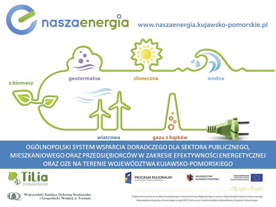 OGÓLNOPOLSKI SYSTEM WSPARCIA DORADCZEGO DLA SEKTORA PUBLICZNEGO, MIESZKANIOWEGO ORAZ PRZEDSIĘBIORCÓW W ZAKRESIE EFEKTYWNOŚCI ENERGETYCZNEJ ORAZ OZE NA TERENIE WOJEWÓDZTWA KUJAWSKO-POMORSKIEGO