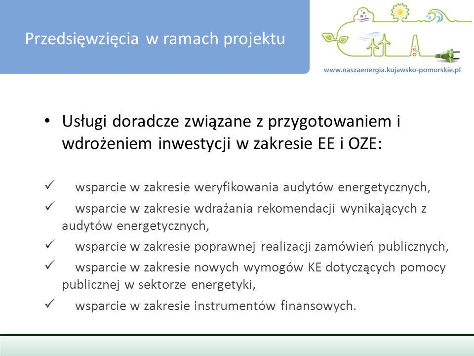PRZEDSIĘWZIĘCIA W RAMACH PROJEKTU Usługi doradcze związane z przygotowaniem i wdrożeniem inwestycji w zakresie EE i OZE: wsparcie w zakresie weryfikowania audytów energetycznych, wsparcie w zakresie wdrażania rekomendacji wynikających z audytów energetycznych, wsparcie w zakresie poprawnej realizacji zamówień publicznych, wsparcie w zakresie nowych wymogów KE dotyczących pomocy publicznej w sektorze energetyki, wsparcie w zakresie instrumentów finansowych.