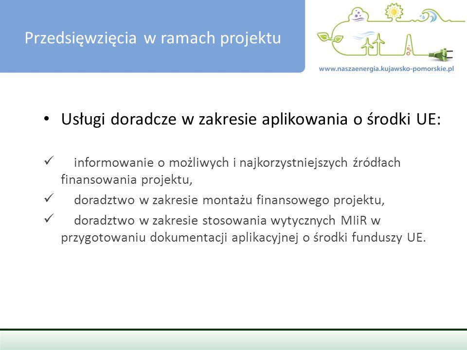 PRZEDSIĘWZIĘCIA W RAMACH PROJEKTU Usługi doradcze w zakresie aplikowania o środki UE: informowanie o możliwych i najkorzystniejszych źródłach finansowania projektu, doradztwo w zakresie montażu finansowego projektu, doradztwo w zakresie stosowania wytycznych MIiR w przygotowaniu dokumentacji aplikacyjnej o środki funduszy UE.