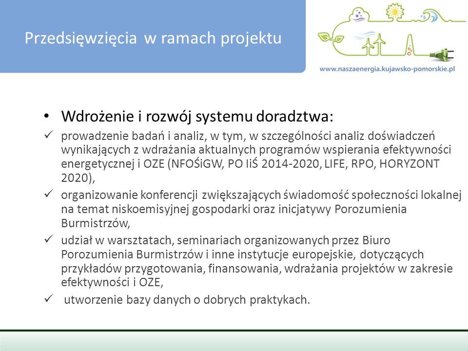 PRZEDSIĘWZIĘCIA W RAMACH PROJEKTU Przygotowanie i przeprowadzenie szkoleń oraz działań informacyjnych: szkolenia i działania informacyjne skierowane do samorządów, przedsiębiorców, w tym MŚP i społeczności lokalnej w tym osób fizycznych, z zakresu efektywności energetycznej i OZE, informacja i wymiana doświadczeń z wykorzystaniem systemów informatycznych, przygotowanie i przeprowadzenie szkoleń energetyków gminnych.