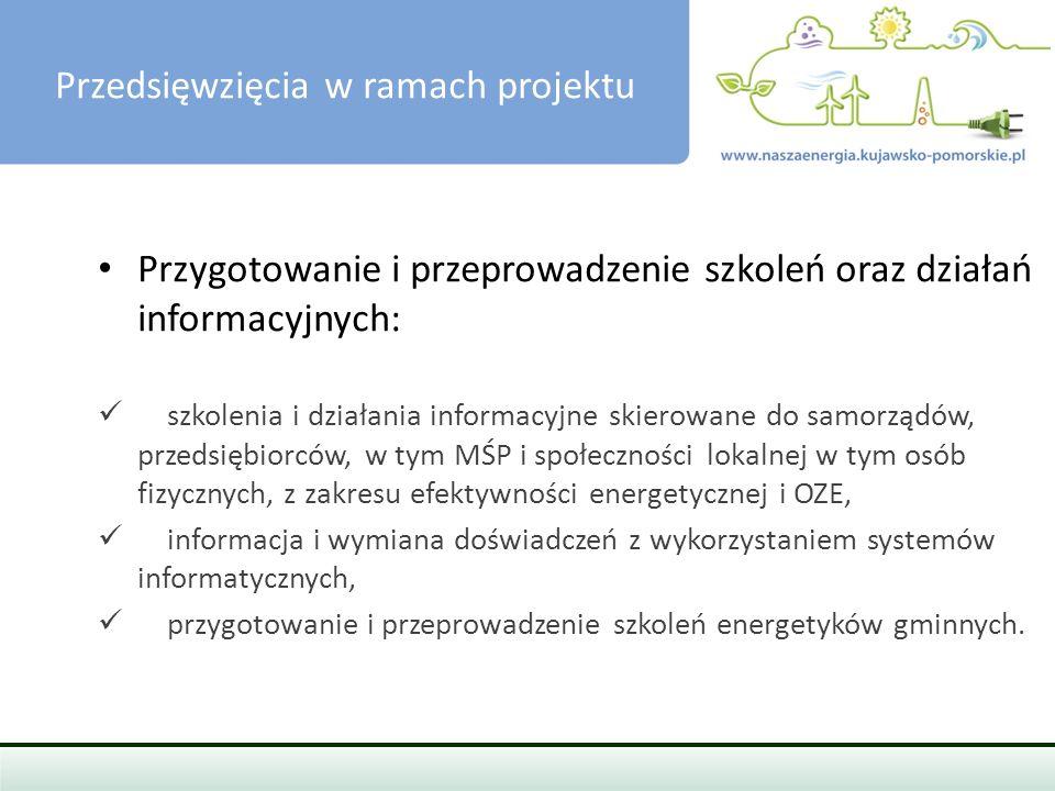 PRZEDSIĘWZIĘCIA W RAMACH PROJEKTU Usługi doradcze związane z przygotowaniem PGN/SEAP: promowanie wśród gmin idei posiadania planów gospodarki niskoemisyjnej oraz wskazywanie na korzyści wynikające z realizacji PGN-ów, zachęcanie miast i gmin do przystępowania do Porozumienia Burmistrzów, wspieranie gmin w przygotowaniu PGN/SEAP, w tym m.in.