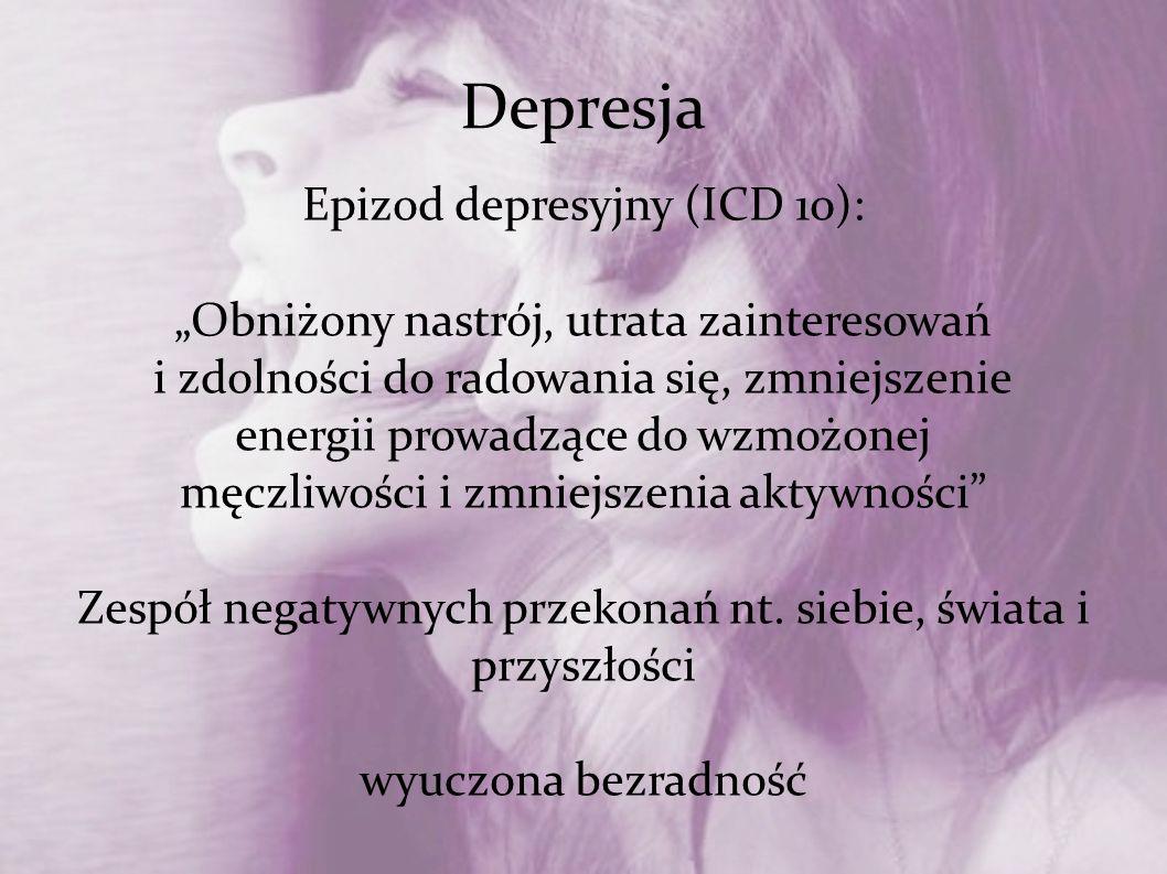 """Depresja Epizod depresyjny (ICD 10): """"Obniżony nastrój, utrata zainteresowań i zdolności do radowania się, zmniejszenie energii prowadzące do wzmożone"""