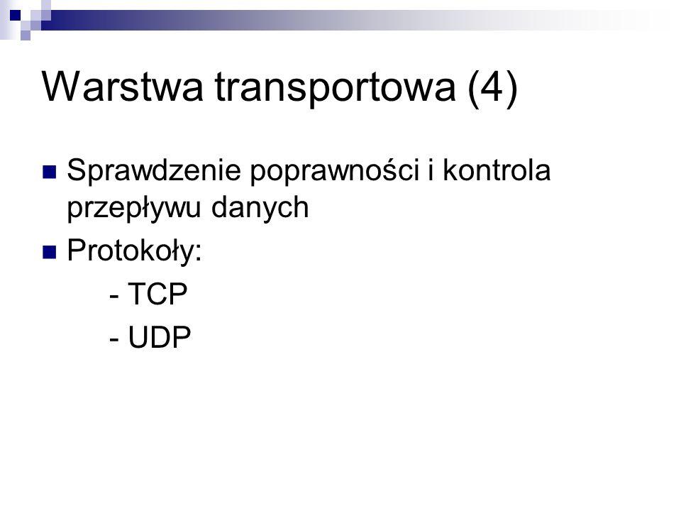 Warstwa transportowa (4) Sprawdzenie poprawności i kontrola przepływu danych Protokoły: - TCP - UDP