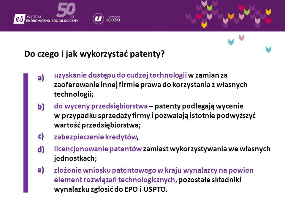 Do czego i jak wykorzystać patenty? a)uzyskanie dostępu do cudzej technologii w zamian za zaoferowanie innej firmie prawa do korzystania z własnych te