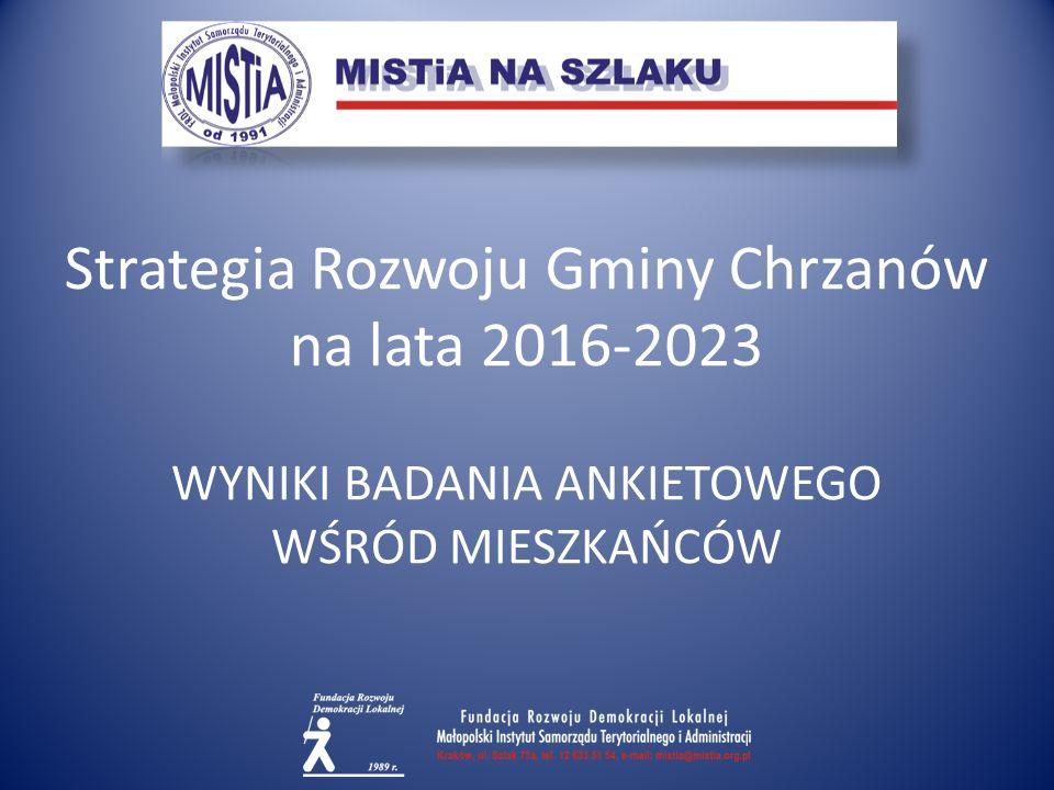 Strategia Rozwoju Gminy Chrzanów na lata 2016-2023 WYNIKI BADANIA ANKIETOWEGO WŚRÓD MIESZKAŃCÓW