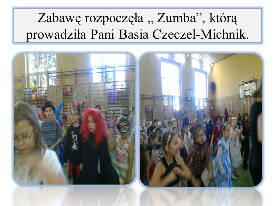 """Zabawę rozpoczęła """" Zumba , którą prowadziła Pani Basia Czeczel-Michnik."""