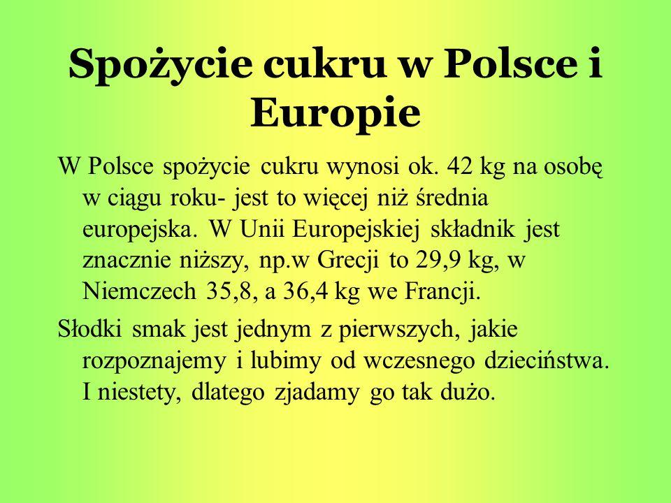 Spożycie cukru w Polsce i Europie W Polsce spożycie cukru wynosi ok. 42 kg na osobę w ciągu roku- jest to więcej niż średnia europejska. W Unii Europe