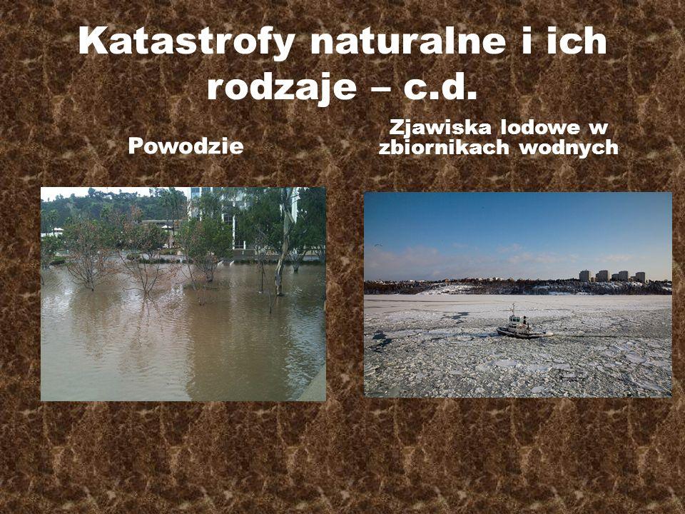 Katastrofy naturalne i ich rodzaje – c.d. Powodzie Zjawiska lodowe w zbiornikach wodnych