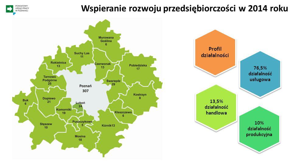 Wspieranie rozwoju przedsiębiorczości w 2014 roku 76,5% działalność usługowa 10% działalność produkcyjna 13,5% działalność handlowa Profil działalnośc