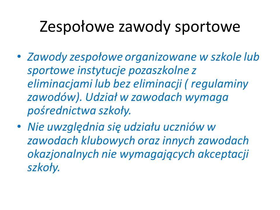 Zespołowe zawody sportowe Zawody zespołowe organizowane w szkole lub sportowe instytucje pozaszkolne z eliminacjami lub bez eliminacji ( regulaminy zawodów).