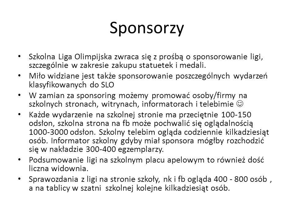 Szkolna Liga Olimpijska zwraca się z prośbą o sponsorowanie ligi, szczególnie w zakresie zakupu statuetek i medali.