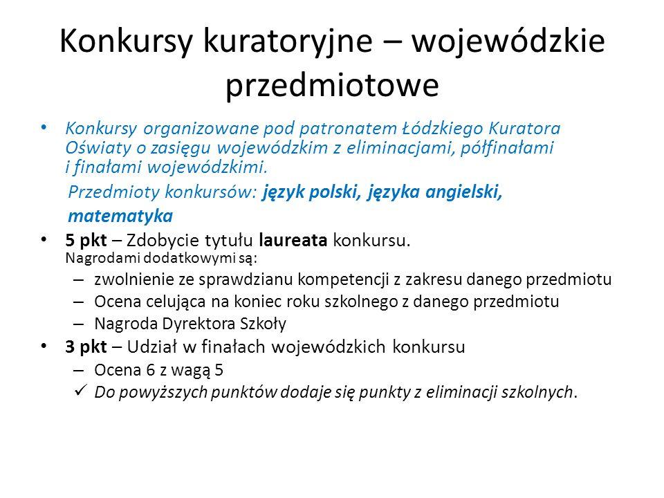 Konkursy kuratoryjne – wojewódzkie przedmiotowe Konkursy organizowane pod patronatem Łódzkiego Kuratora Oświaty o zasięgu wojewódzkim z eliminacjami, półfinałami i finałami wojewódzkimi.