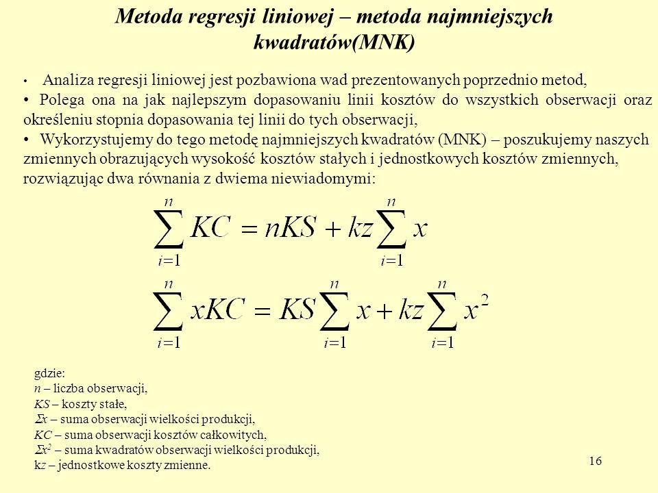 16 Metoda regresji liniowej – metoda najmniejszych kwadratów(MNK) Analiza regresji liniowej jest pozbawiona wad prezentowanych poprzednio metod, Poleg