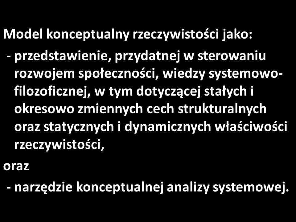 Model konceptualny rzeczywistości jako: - przedstawienie, przydatnej w sterowaniu rozwojem społeczności, wiedzy systemowo- filozoficznej, w tym dotyczącej stałych i okresowo zmiennych cech strukturalnych oraz statycznych i dynamicznych właściwości rzeczywistości, oraz - narzędzie konceptualnej analizy systemowej.