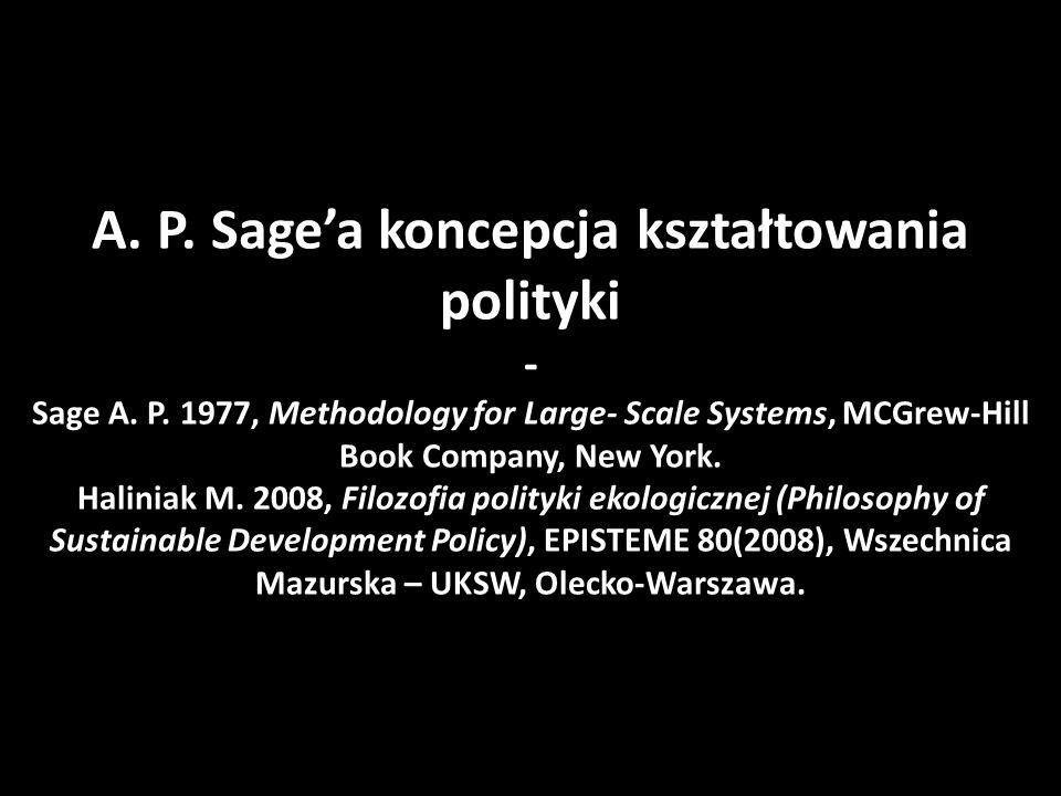 A. P. Sage'a koncepcja kształtowania polityki - Sage A.