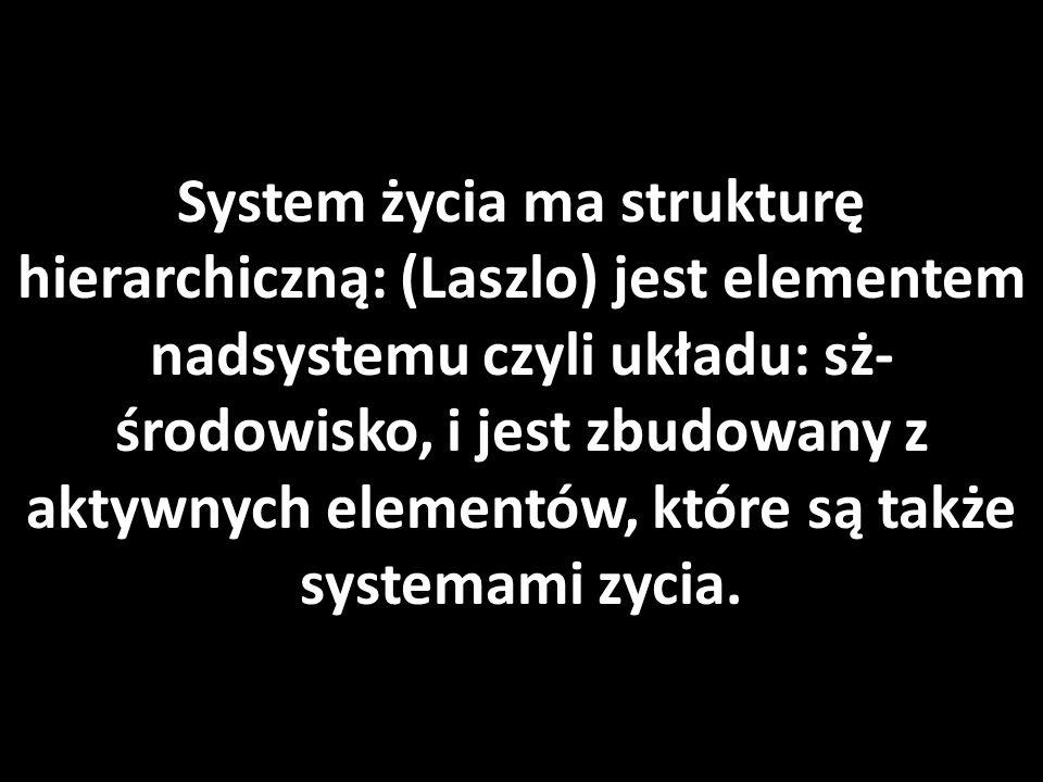 System życia ma strukturę hierarchiczną: (Laszlo) jest elementem nadsystemu czyli układu: sż- środowisko, i jest zbudowany z aktywnych elementów, które są także systemami zycia.