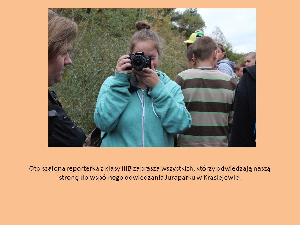 Oto szalona reporterka z klasy IIIB zaprasza wszystkich, którzy odwiedzają naszą stronę do wspólnego odwiedzania Juraparku w Krasiejowie.