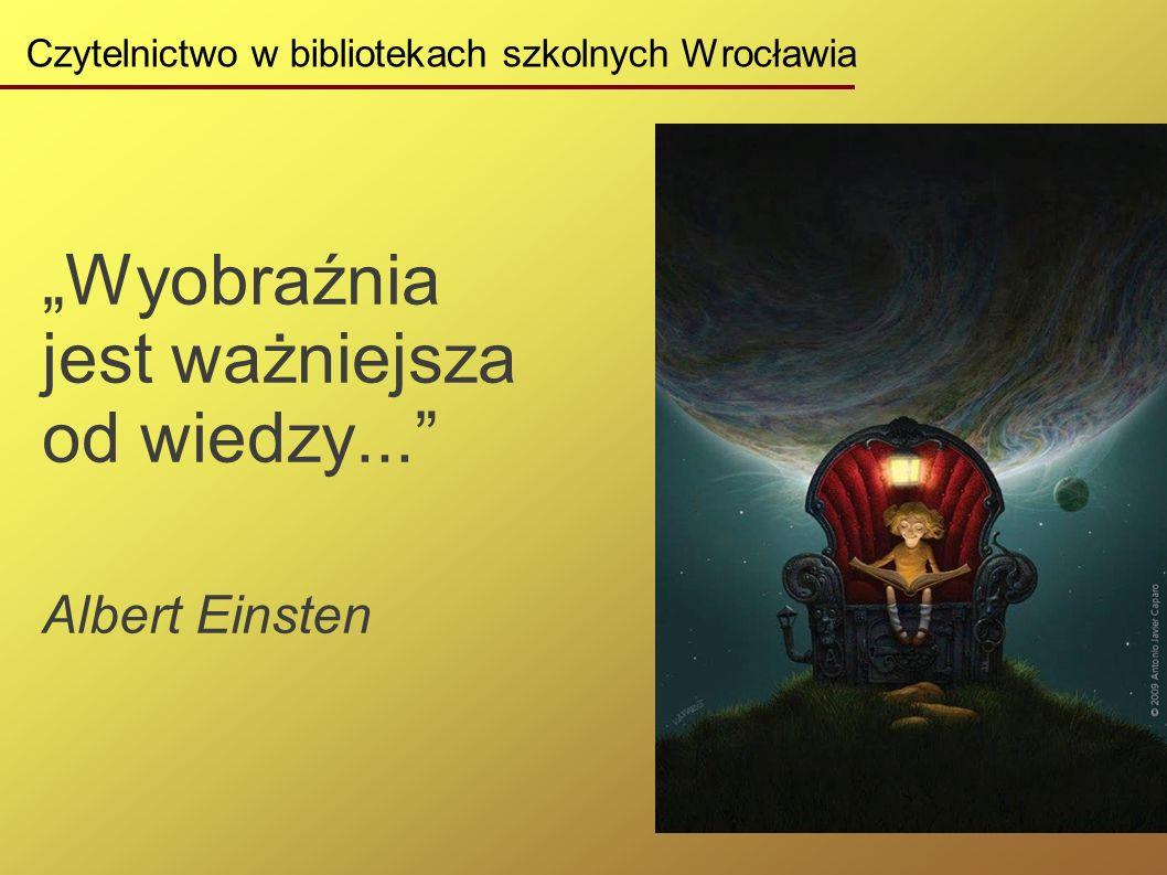 """Czytelnictwo w bibliotekach szkolnych Wrocławia """"Wyobraźnia jest ważniejsza od wiedzy... Albert Einsten"""