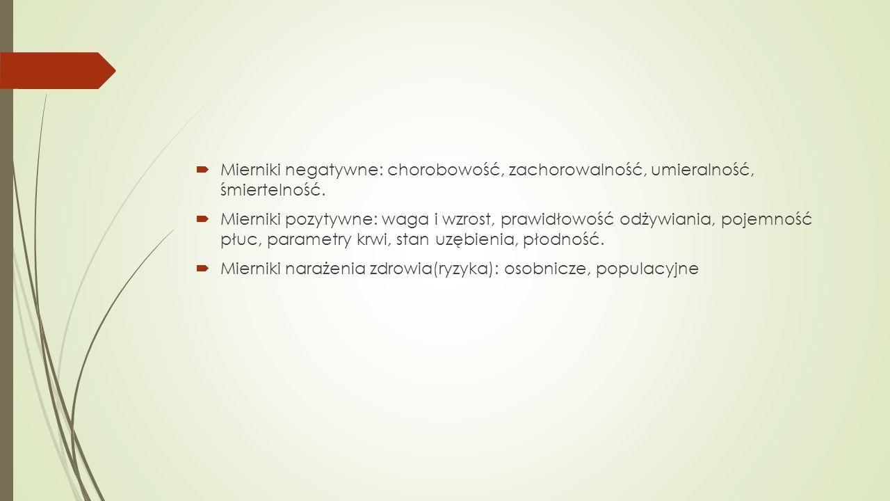  Mierniki negatywne: chorobowość, zachorowalność, umieralność, śmiertelność.  Mierniki pozytywne: waga i wzrost, prawidłowość odżywiania, pojemność