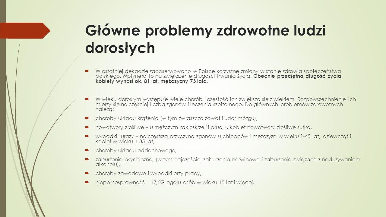 Główne problemy zdrowotne ludzi dorosłych  W ostatniej dekadzie zaobserwowano w Polsce korzystne zmiany w stanie zdrowia społeczeństwa polskiego. Wpł
