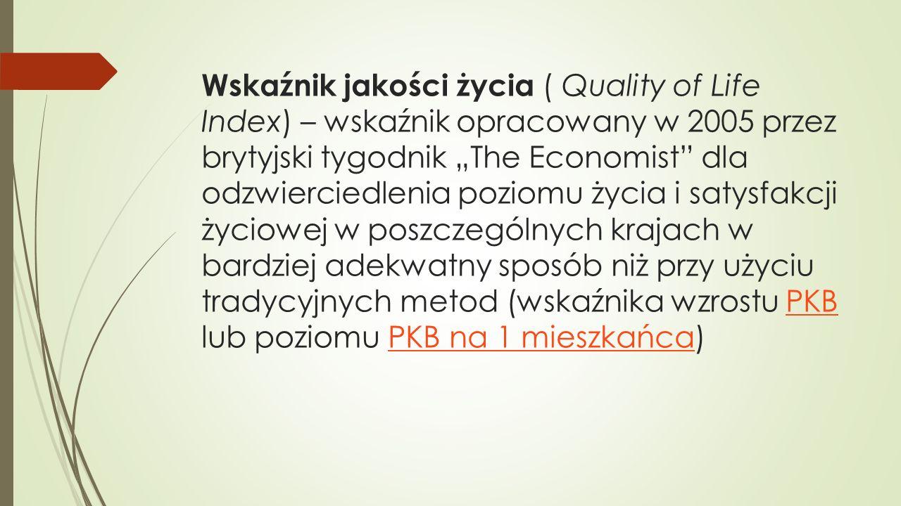 """Wskaźnik jakości życia ( Quality of Life Index) – wskaźnik opracowany w 2005 przez brytyjski tygodnik """"The Economist"""" dla odzwierciedlenia poziomu życ"""