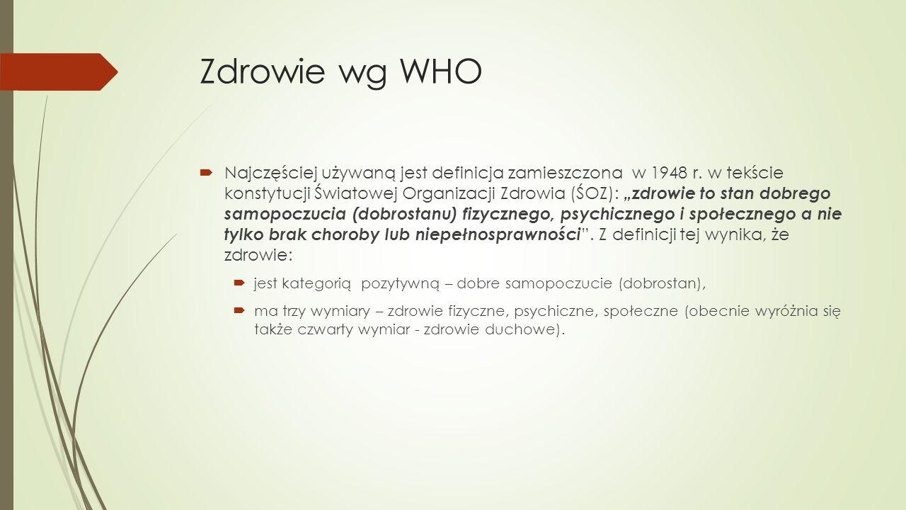 """Zdrowie wg WHO  Najczęściej używaną jest definicja zamieszczona w 1948 r. w tekście konstytucji Światowej Organizacji Zdrowia (ŚOZ): """"zdrowie to stan"""