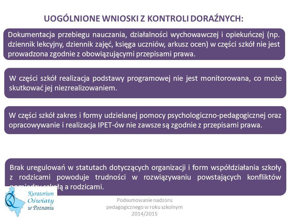 Podsumowanie nadzoru pedagogicznego w roku szkolnym 2014/2015 UOGÓLNIONE WNIOSKI Z KONTROLI DORAŹNYCH: Dokumentacja przebiegu nauczania, działalności wychowawczej i opiekuńczej (np.