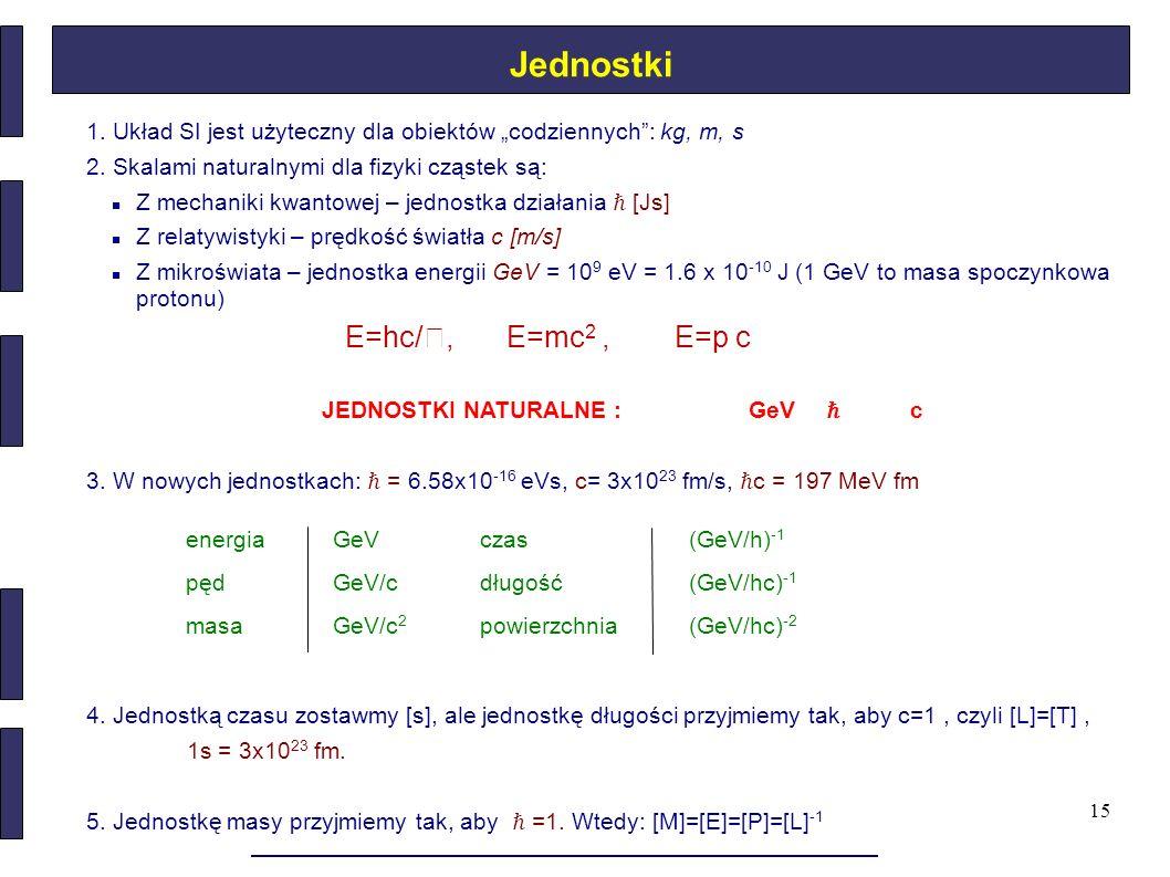 """15 Jednostki 1. Układ SI jest użyteczny dla obiektów """"codziennych"""": kg, m, s 2. Skalami naturalnymi dla fizyki cząstek są: Z mechaniki kwantowej – jed"""