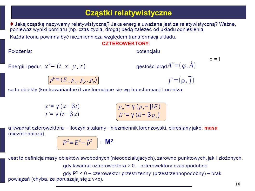 18 Cząstki relatywistyczne CZTEROWEKTORY: Położenia: potencjału Energii i pędu:gęstości prądu: są to obiekty (kontrawariantne) transformujące się wg t