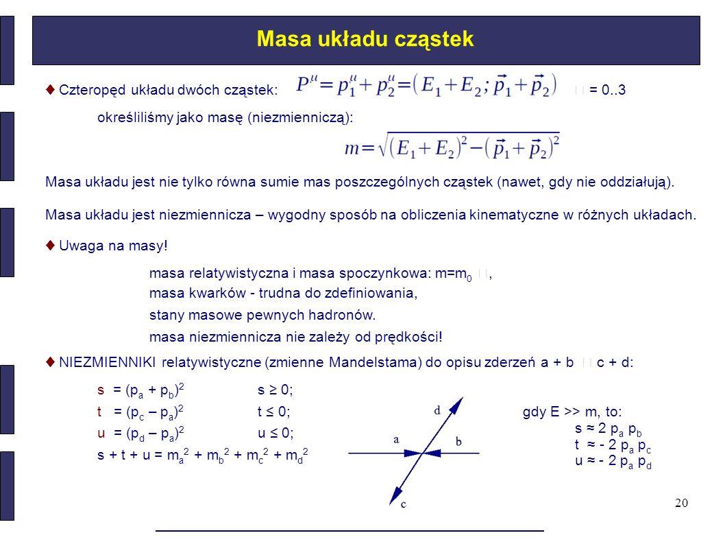 20 Masa układu cząstek ♦ Czteropęd układu dwóch cząstek: = 0..3 określiliśmy jako masę (niezmienniczą): Masa układu jest nie tylko równa sumie mas pos
