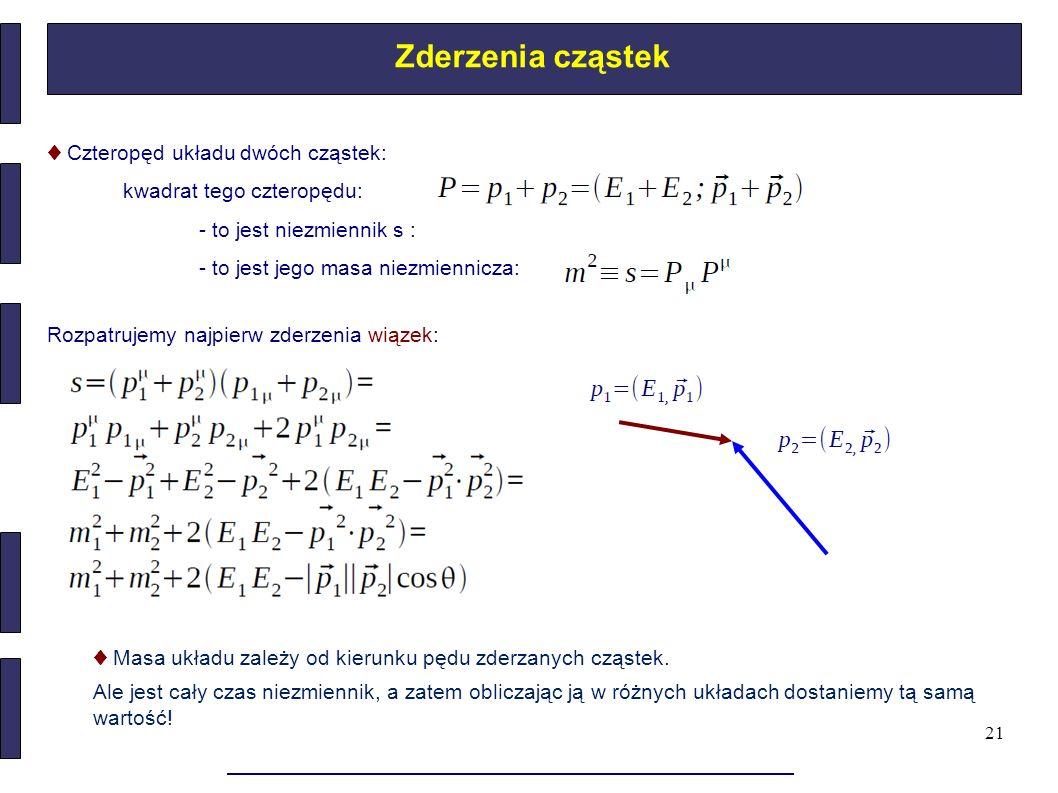 21 Zderzenia cząstek ♦ Czteropęd układu dwóch cząstek: kwadrat tego czteropędu: - to jest niezmiennik s : - to jest jego masa niezmiennicza: Rozpatruj