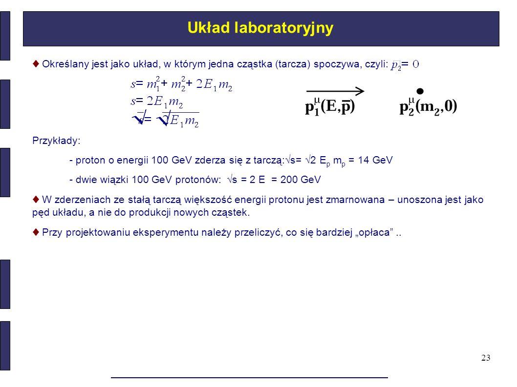 23 Układ laboratoryjny ♦ Określany jest jako układ, w którym jedna cząstka (tarcza) spoczywa, czyli: Przykłady: - proton o energii 100 GeV zderza się