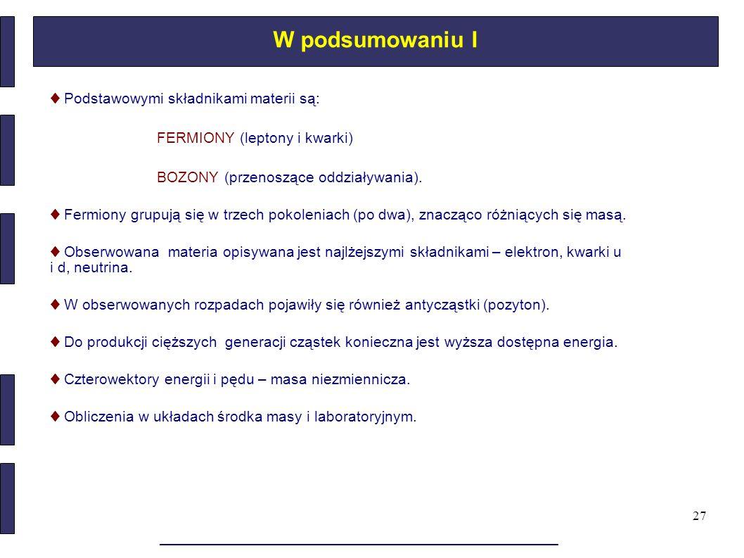 27 W podsumowaniu I ♦ Podstawowymi składnikami materii są: FERMIONY (leptony i kwarki) BOZONY (przenoszące oddziaływania). ♦ Fermiony grupują się w tr