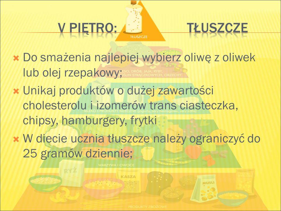  Do smażenia najlepiej wybierz oliwę z oliwek lub olej rzepakowy;  Unikaj produktów o dużej zawartości cholesterolu i izomerów trans ciasteczka, chi