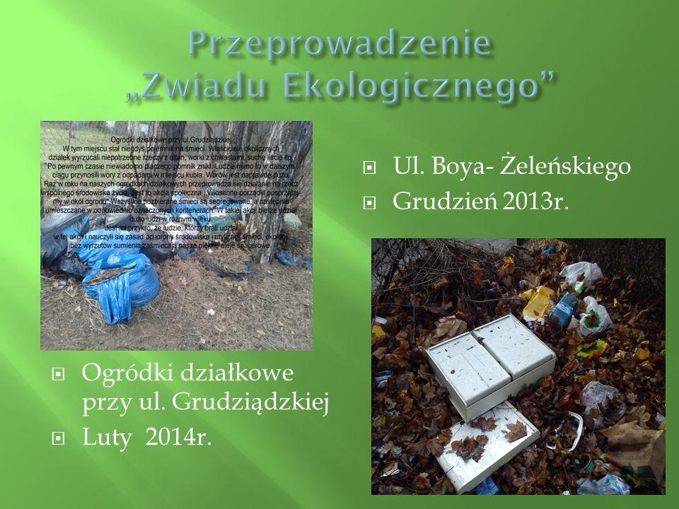  Ogródki działkowe przy ul. Grudziądzkiej  Luty 2014r.  Ul. Boya- Żeleńskiego  Grudzień 2013r.
