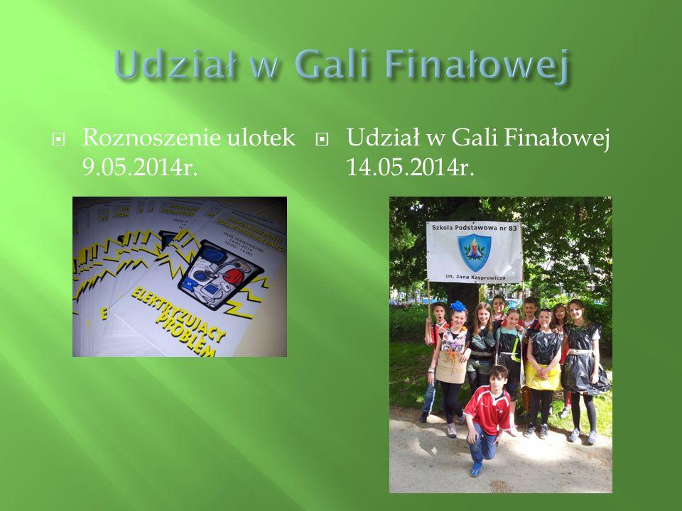  Roznoszenie ulotek 9.05.2014r.  Udział w Gali Finałowej 14.05.2014r.