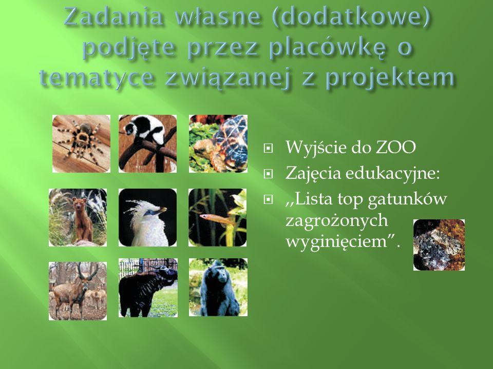  Wyjście do ZOO  Zajęcia edukacyjne: ,,Lista top gatunków zagrożonych wyginięciem .