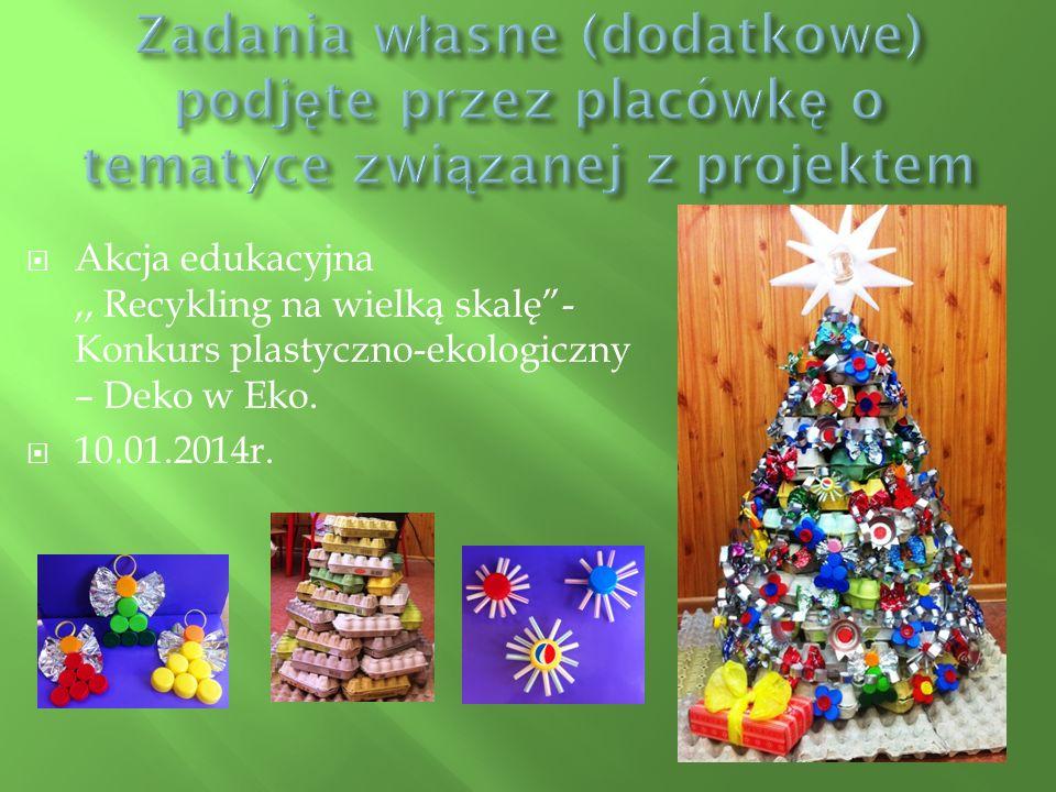  Akcja edukacyjna,, Recykling na wielką skalę - Konkurs plastyczno-ekologiczny – Deko w Eko.