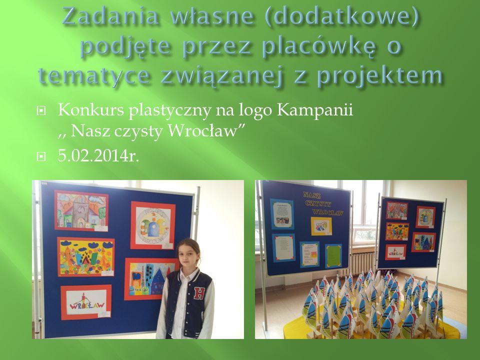 """ Konkurs plastyczny na logo Kampanii,, Nasz czysty Wrocław""""  5.02.2014r."""