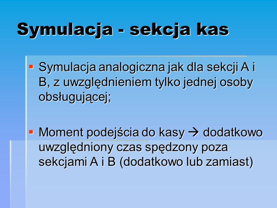Symulacja - sekcja kas  Symulacja analogiczna jak dla sekcji A i B, z uwzględnieniem tylko jednej osoby obsługującej;  Moment podejścia do kasy  dodatkowo uwzględniony czas spędzony poza sekcjami A i B (dodatkowo lub zamiast)