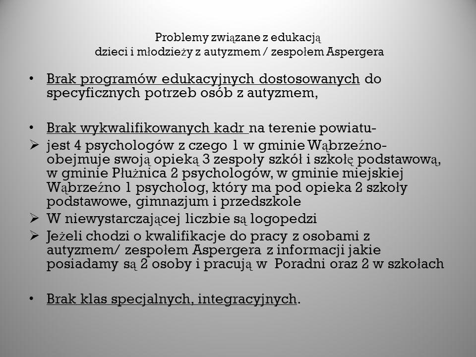 Problemy zwi ą zane z edukacj ą dzieci i m ł odzie ż y z autyzmem / zespo ł em Aspergera Brak programów edukacyjnych dostosowanych do specyficznych potrzeb osób z autyzmem, Brak wykwalifikowanych kadr na terenie powiatu-  jest 4 psychologów z czego 1 w gminie W ą brze ź no- obejmuje swoj ą opiek ą 3 zespo ł y szkó ł i szko łę podstawow ą, w gminie P ł u ż nica 2 psychologów, w gminie miejskiej W ą brze ź no 1 psycholog, który ma pod opieka 2 szko ł y podstawowe, gimnazjum i przedszkole  W niewystarczaj ą cej liczbie s ą logopedzi  Je ż eli chodzi o kwalifikacje do pracy z osobami z autyzmem/ zespo ł em Aspergera z informacji jakie posiadamy s ą 2 osoby i pracuj ą w Poradni oraz 2 w szko ł ach Brak klas specjalnych, integracyjnych.