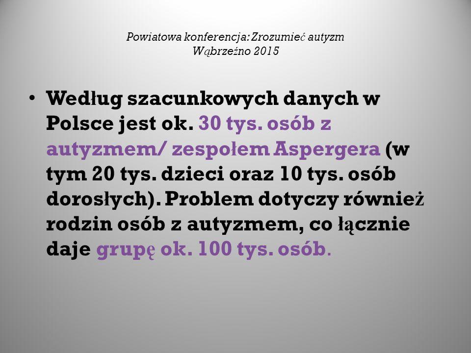 Wed ł ug szacunkowych danych w Polsce jest ok. 30 tys. osób z autyzmem/ zespo ł em Aspergera (w tym 20 tys. dzieci oraz 10 tys. osób doros ł ych). Pro