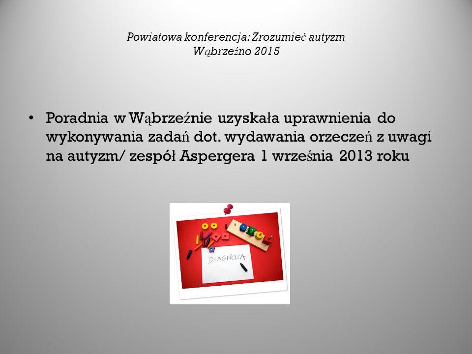 Powiatowa konferencja: Zrozumie ć autyzm W ą brze ź no 2015 Poradnia w W ą brze ź nie uzyska ł a uprawnienia do wykonywania zada ń dot.