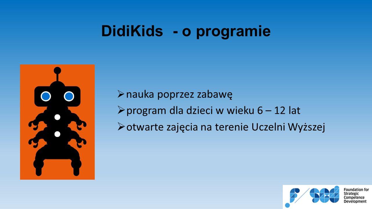 DidiKids - o programie  nauka poprzez zabawę  program dla dzieci w wieku 6 – 12 lat  otwarte zajęcia na terenie Uczelni Wyższej