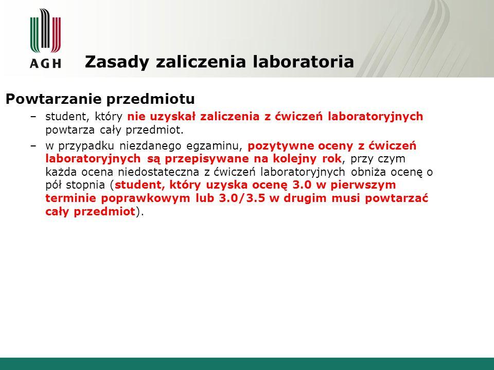 Zasady zaliczenia laboratoria Powtarzanie przedmiotu –student, który nie uzyskał zaliczenia z ćwiczeń laboratoryjnych powtarza cały przedmiot.