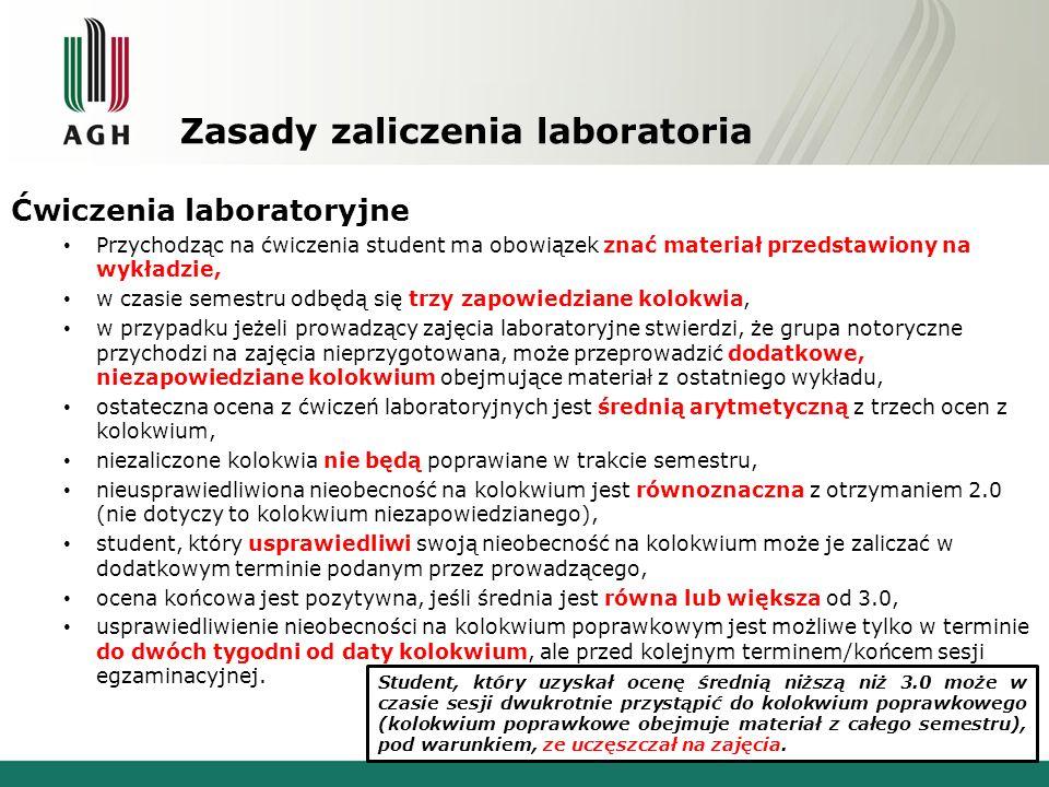 Zasady zaliczenia laboratoria Ćwiczenia laboratoryjne Przychodząc na ćwiczenia student ma obowiązek znać materiał przedstawiony na wykładzie, w czasie semestru odbędą się trzy zapowiedziane kolokwia, w przypadku jeżeli prowadzący zajęcia laboratoryjne stwierdzi, że grupa notoryczne przychodzi na zajęcia nieprzygotowana, może przeprowadzić dodatkowe, niezapowiedziane kolokwium obejmujące materiał z ostatniego wykładu, ostateczna ocena z ćwiczeń laboratoryjnych jest średnią arytmetyczną z trzech ocen z kolokwium, niezaliczone kolokwia nie będą poprawiane w trakcie semestru, nieusprawiedliwiona nieobecność na kolokwium jest równoznaczna z otrzymaniem 2.0 (nie dotyczy to kolokwium niezapowiedzianego), student, który usprawiedliwi swoją nieobecność na kolokwium może je zaliczać w dodatkowym terminie podanym przez prowadzącego, ocena końcowa jest pozytywna, jeśli średnia jest równa lub większa od 3.0, usprawiedliwienie nieobecności na kolokwium poprawkowym jest możliwe tylko w terminie do dwóch tygodni od daty kolokwium, ale przed kolejnym terminem/końcem sesji egzaminacyjnej.