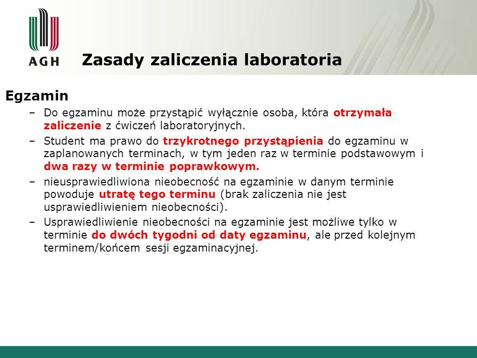 Zasady zaliczenia laboratoria Egzamin –Do egzaminu może przystąpić wyłącznie osoba, która otrzymała zaliczenie z ćwiczeń laboratoryjnych.
